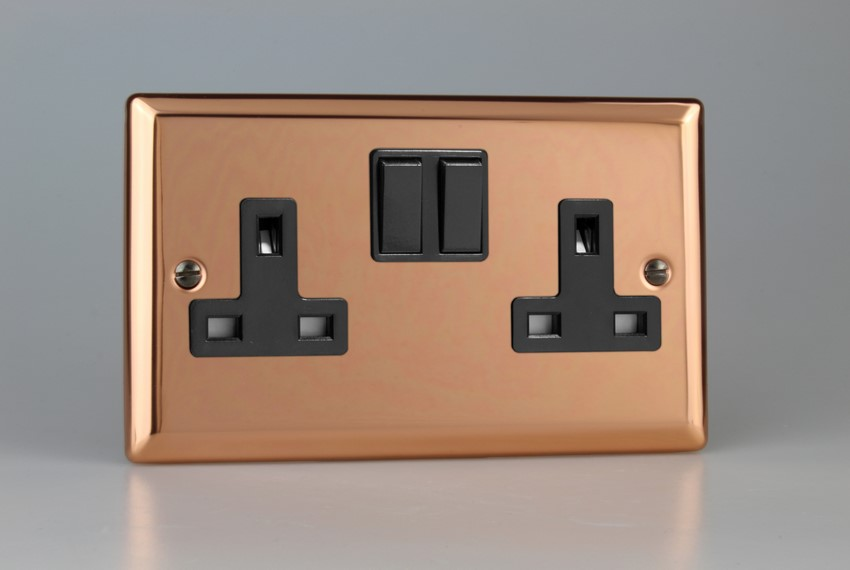 XY5B.CU Varilight 2 Gang (Double), 13 Amp Switched Socket, Classic Polished Copper