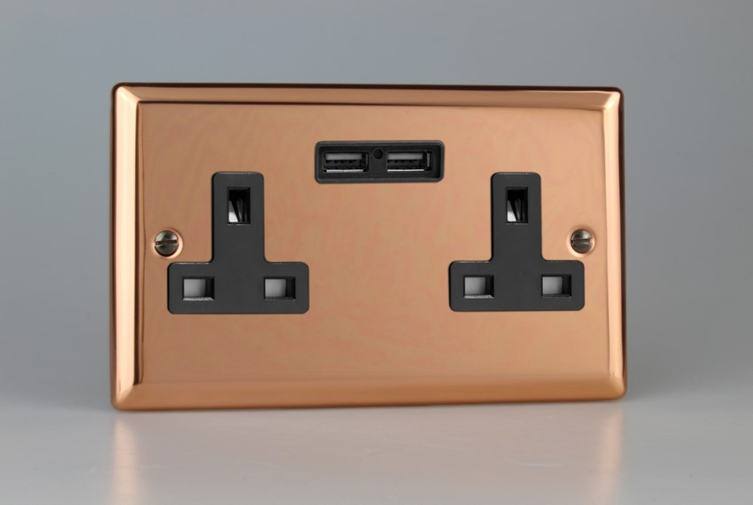 XY5U2B.CU Varilight 2 Gang, 13 Amp Unswitched Socket with 2 Optimised USB Charging Ports, Black Insert. Classic Polished Copper