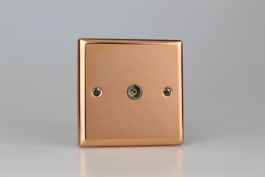 XY8.CU Varilight 1 Gang (Single), Co-axial TV Socket, Classic Polished Copper