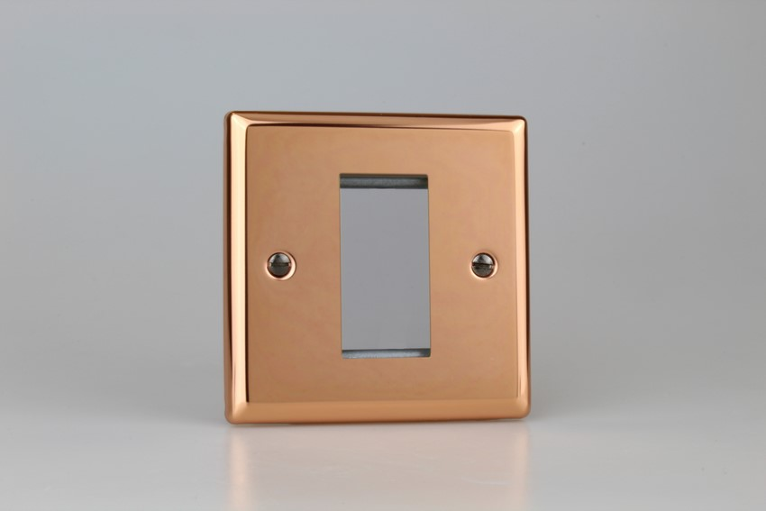 XYG1.CU Varilight Single Size Data Grid Face Plate For 1 Data Module Width, Classic Polished Copper