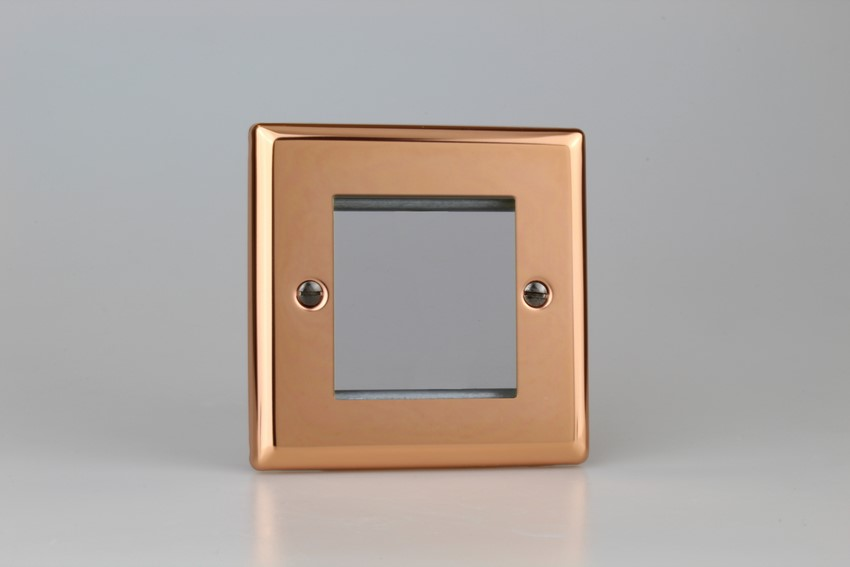 XYG2.CU Varilight Single Size Data Grid Face Plate For 2 Data Modules, Classic Georgian Polished Copper