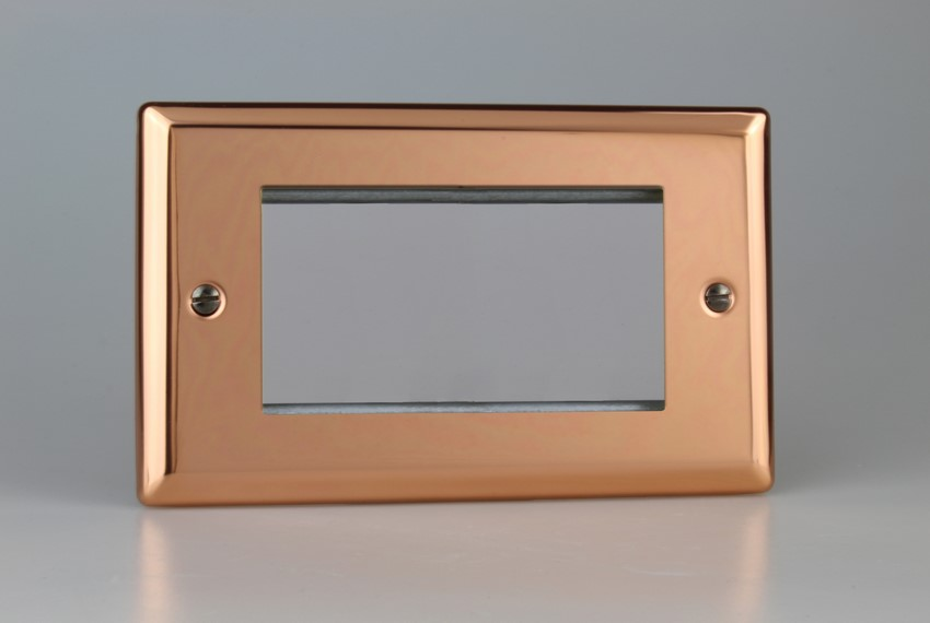 XYG4.CU Varilight Double Size Data Grid Face Plate For 3 or 4 Data Modules, Classic Georgian Polished Copper (Double Plate)