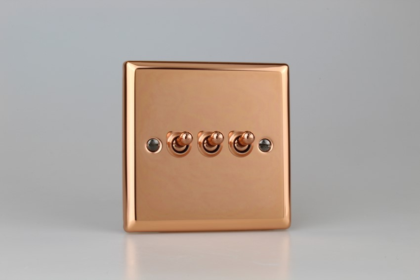 XYT3.CU Varilight 3 Gang (Triple), 1 or 2 Way 10 Amp Classic Toggle Switch, Classic Polished Copper