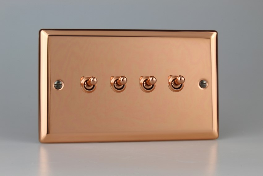 XYT9.CU Varilight 4 Gang (Quad), 1or 2 Way 10 Amp Classic Toggle Switch, Classic Polished Copper (Double Plate)