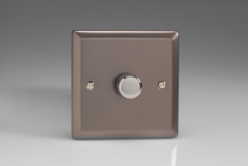 Varilight JRP401, V-Pro Series 1 Gang, 1 or 2 Way,Push-On/Off Rotary LED Dimmer 1 x 0-120W (1-10 LEDs), Classic Pewter