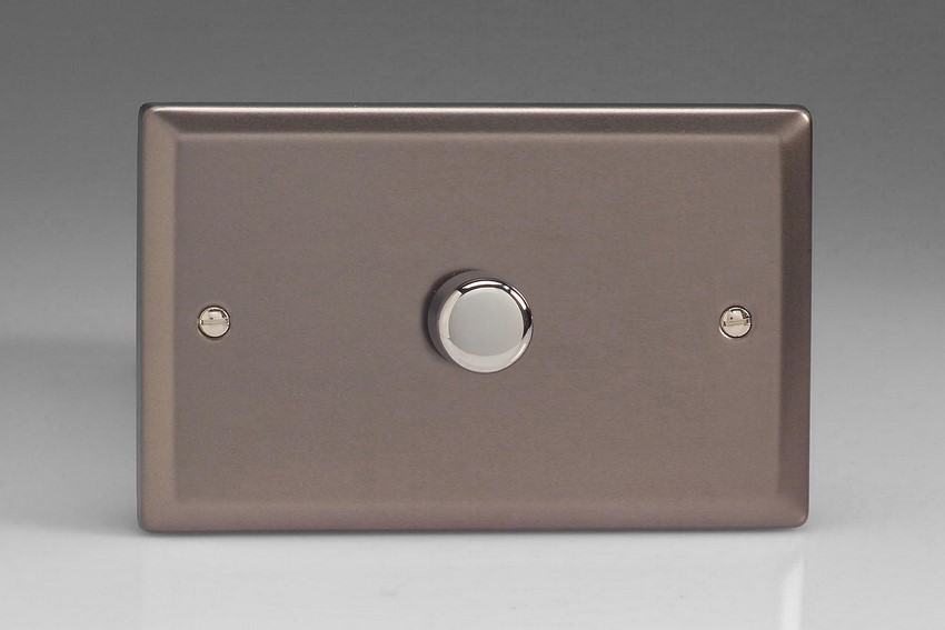 IRDP1001 Varilight V-Plus Series 1 Gang 1 or 2 Way 1000 Watt/VA Dimmer on a Double Plate, Classic Pewter