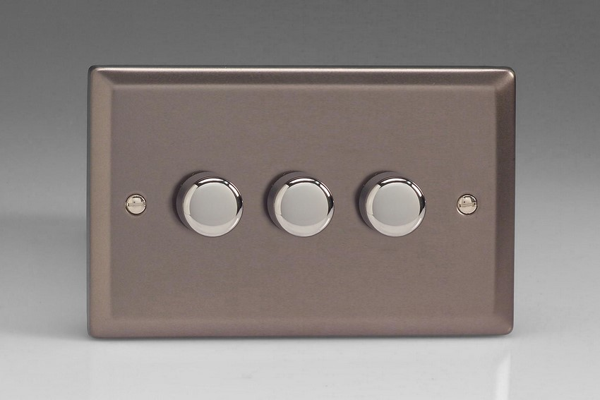 IRDP303 Varilight V-Plus 3 Gang, 1 or 2 Way 3x300 Watt/VA Dimmer, Classic Pewter