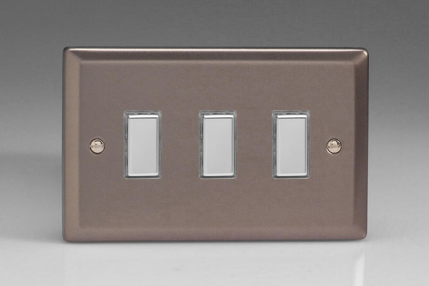 JRES003 - Varilight V-Pro Series Eclique2, 3 Gang Tactile Touch Button Slave Unit for 2 way or Multi-way Circuits Only, Classic Pewter