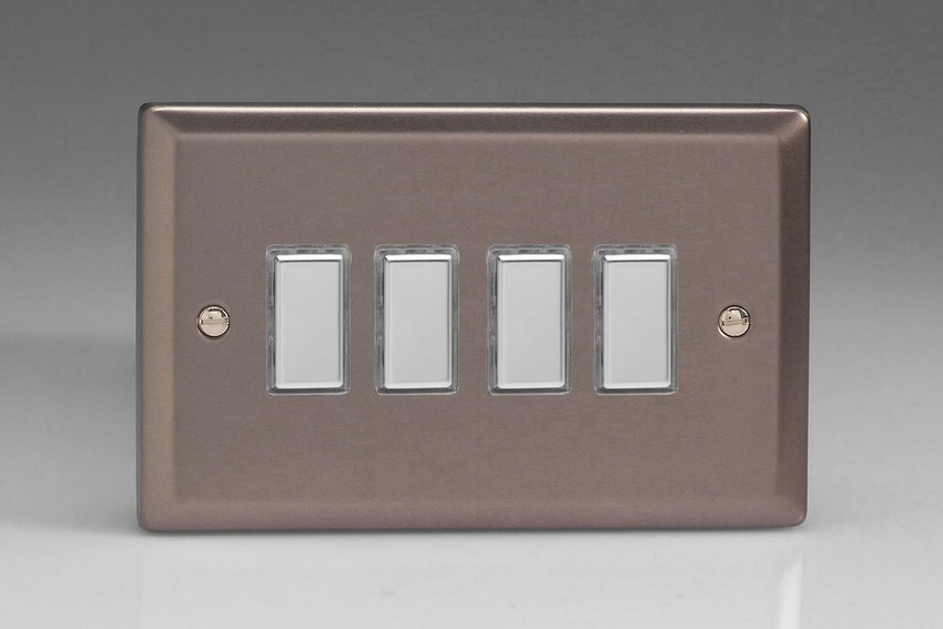JRES004 - Varilight V-Pro Series Eclique2, 4 Gang Tactile Touch Button Slave Unit for 2 way or Multi-way Circuits Only, Classic Pewter