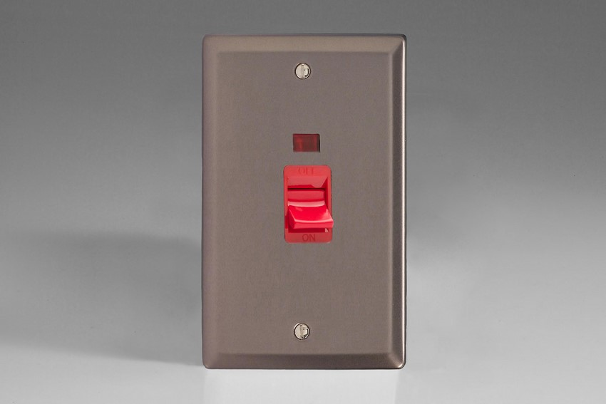 XR45N Varilight 45 Amp Cooker Switch with Neon (Vertical Double Size), Classic Pewter
