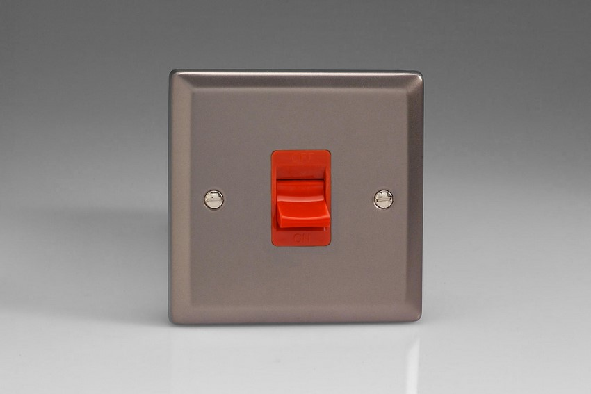 XR45S Varilight 45 Amp Cooker Switch (Single Size), Classic Pewter