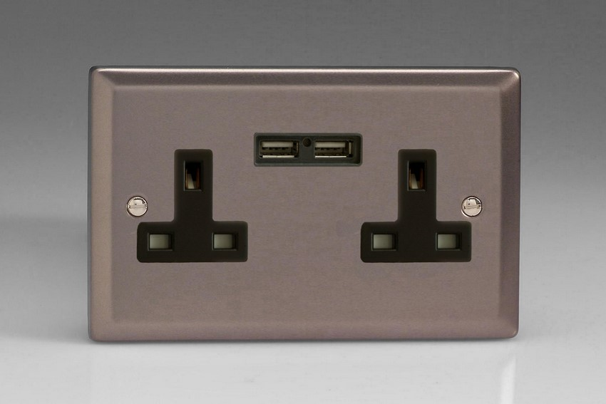 XR5U2B Varilight 2 Gang, 13 Amp Unswitched Socket with 2 Optimised USB Charging Ports, Black Insert. Classic Pewter