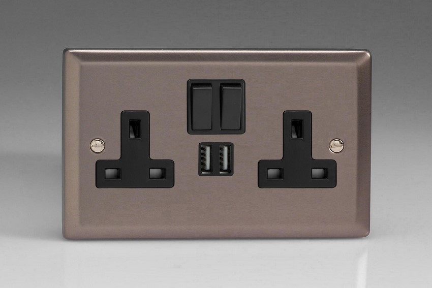 XR5U2SB Varilight 2 Gang 13A Single Pole Switched Socket + 2 x 5V DC 2100mA USB Charging Ports, Black Insert & Switches. Classic Pewter