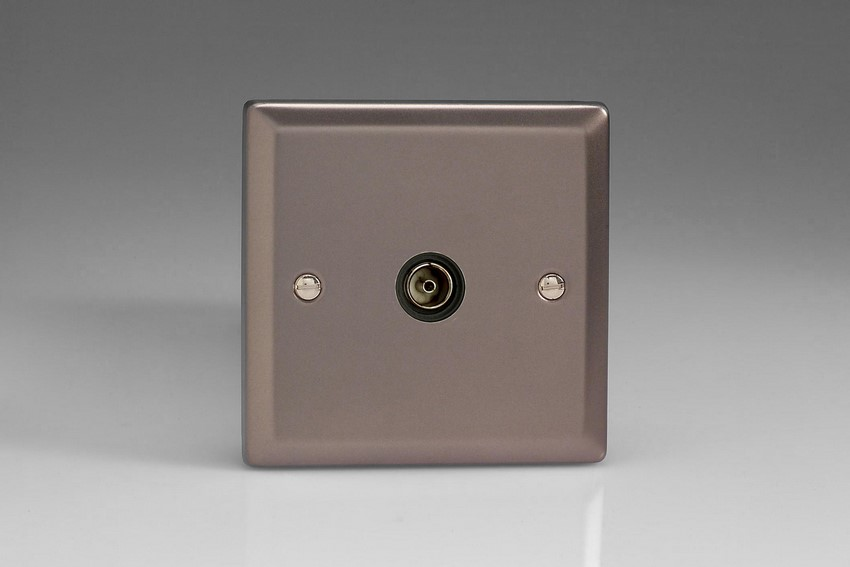 XR8ISOB Varilight 1 Gang (Single), Isolated Co-axial TV Socket, Classic Pewter