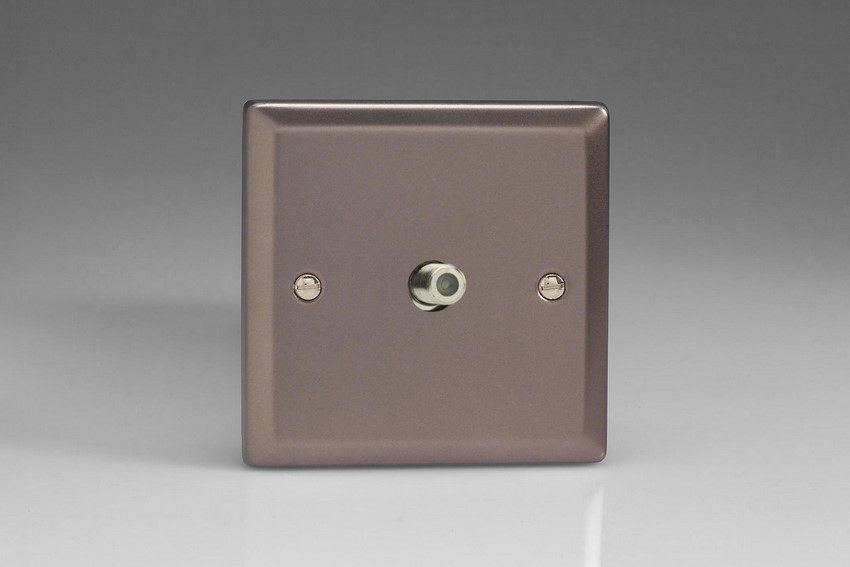 XR8S Varilight 1 Gang (Single), Satellite TV Socket, Classic Pewter