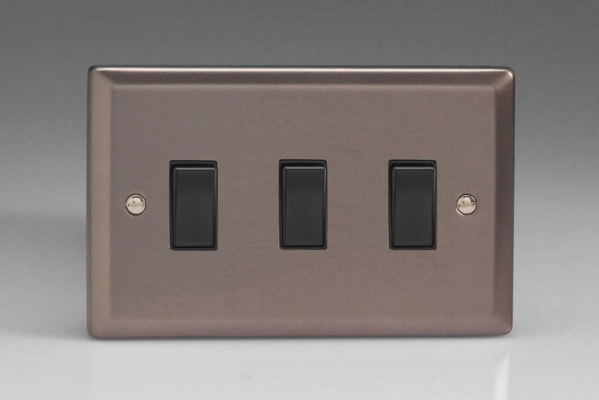 XR93B Varilight 3 Gang (Triple), 1or 2 Way 10 Amp Switch, Classic Pewter (Double Plate)