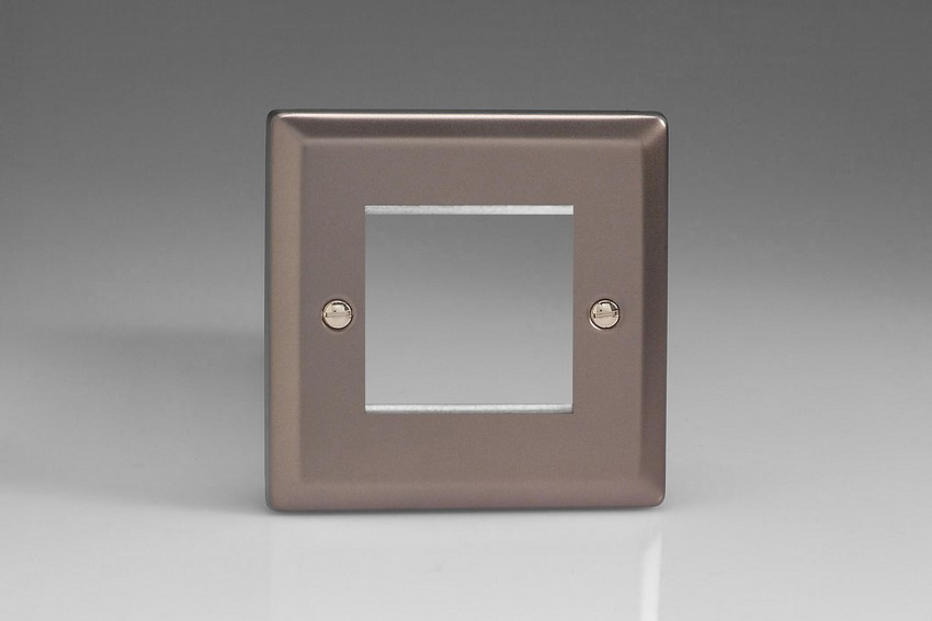 XRG2 Varilight Single Size Data Grid Face Plate For 2 Data Modules Classic Pewter
