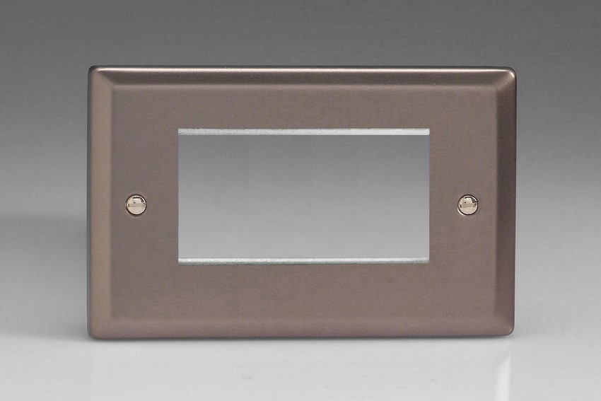 XRG4 Varilight Double Size Data Grid Face Plate For 3 or 4 Data Modules Width Classic Pewter (Double Plate)