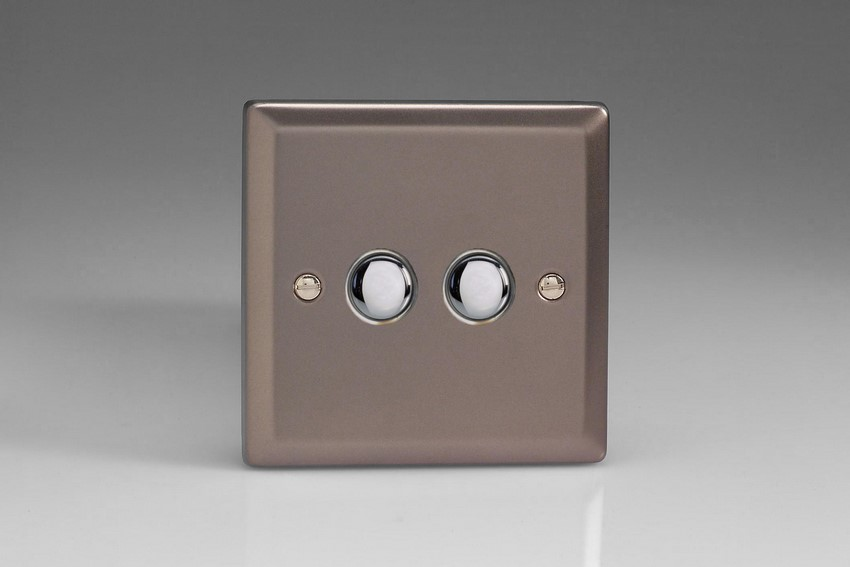 XRM2 Varilight 2 Gang (Double), 1 Way, 6 Amp Retractive/Momentary Switch (Push To Make), Classic Pewter