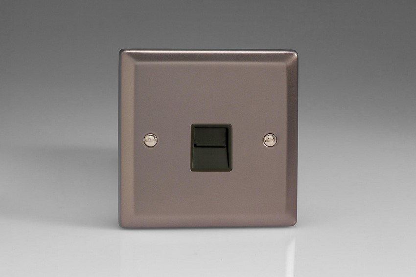 XRTMB Varilight 1 Gang (Single), Telephone Master Socket, Classic Pewter