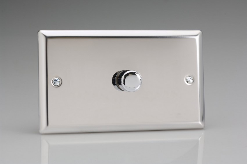 ICDP1001 Varilight V-Plus Series 1 Gang 1 or 2 Way 1000 Watt/VA Dimmer on a Double Plate, Classic Brushed Steel