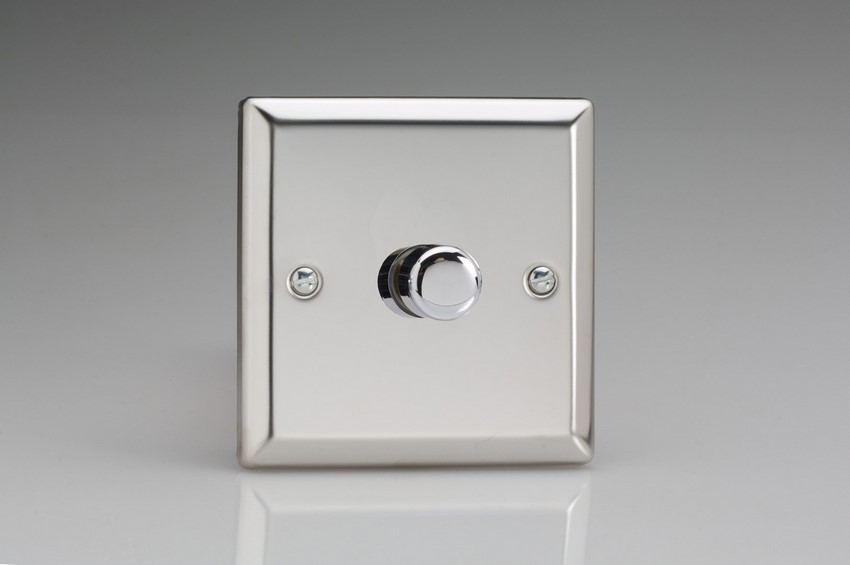 ICP1001 Varilight V-Plus Series 1 Gang 1 or 2 Way 1000 Watt/VA Dimmer, Classic Polished Chrome