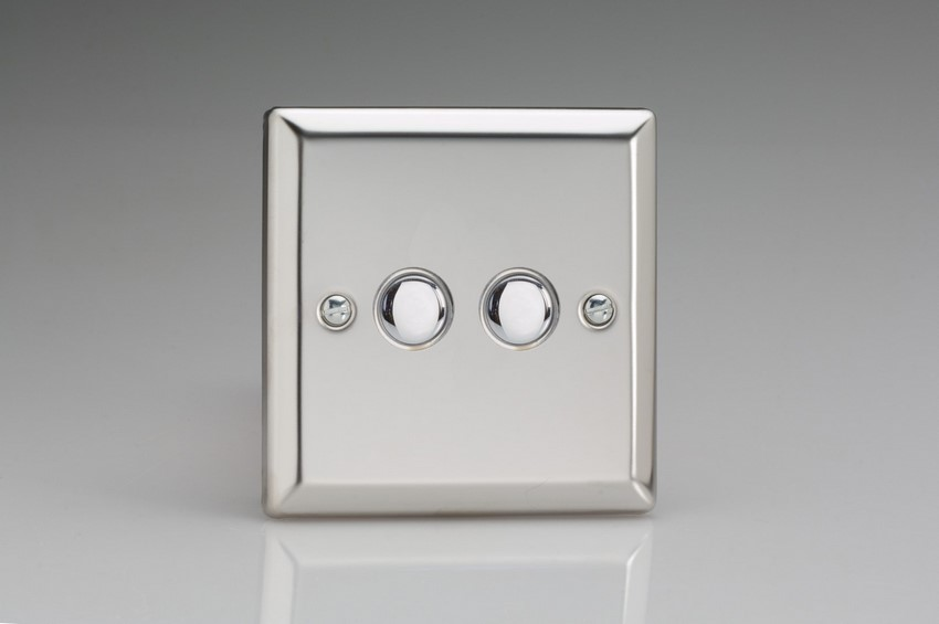 IJCS002 Varilight V-Pro IR Series, 2 Gang Tactile Touch Button Slave Unit for 2 way or Multi-way Circuits Only, Classic Polished Chrome