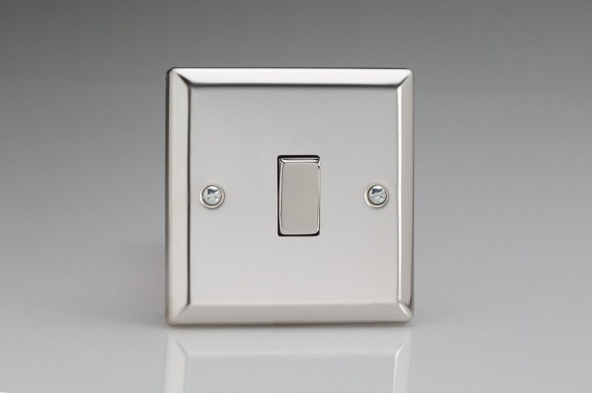 XC1D Varilight 1 Gang (Single), 1 or 2 Way 10 Amp Switch, Classic Polished Chrome (also known as Classic Mirror Chrome)