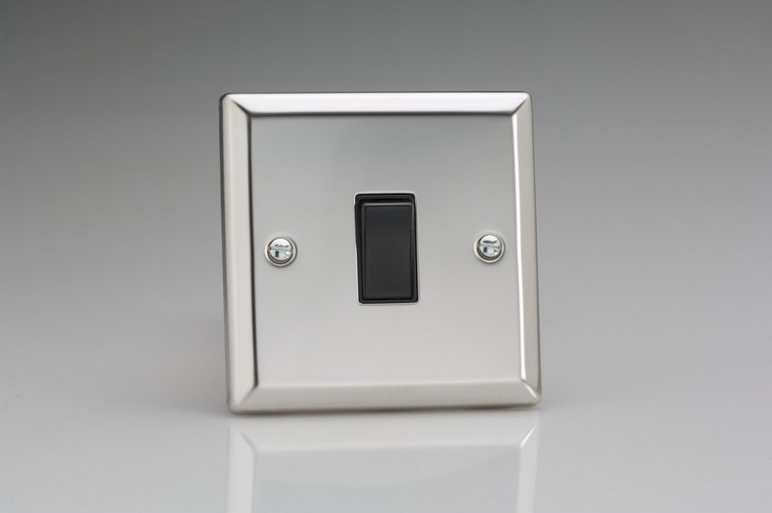 XC20B Varilight 1 Gang (Single), 1 Way 20 Amp Switch, Classic Polished Chrome (also known as Classic Mirror Chrome)