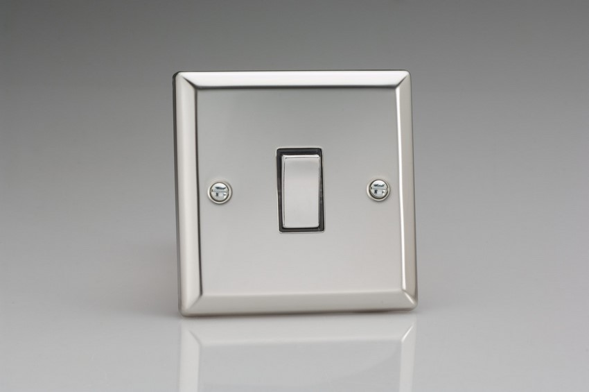 XC20D Varilight 1 Gang (Single), 1 Way 20 Amp Switch, Classic Polished Chrome (also known as Classic Mirror Chrome)