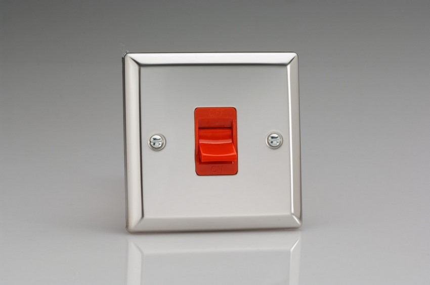 XC45S Varilight 45 Amp Cooker Switch (Single Size), Classic Polished Chrome (also known as Classic Mirror Chrome)