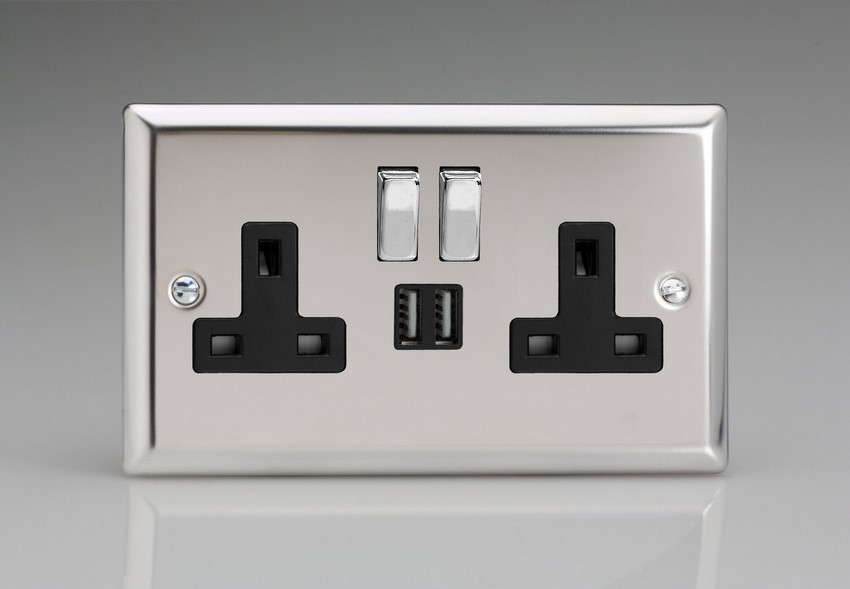 XC5U2SDB Varilight 2 Gang 13A Single Pole Switched Socket + 2 x 5V DC 2100mA USB Charging Ports, Black Insert & Polished Chrome Switches. Classic Polished Chrome