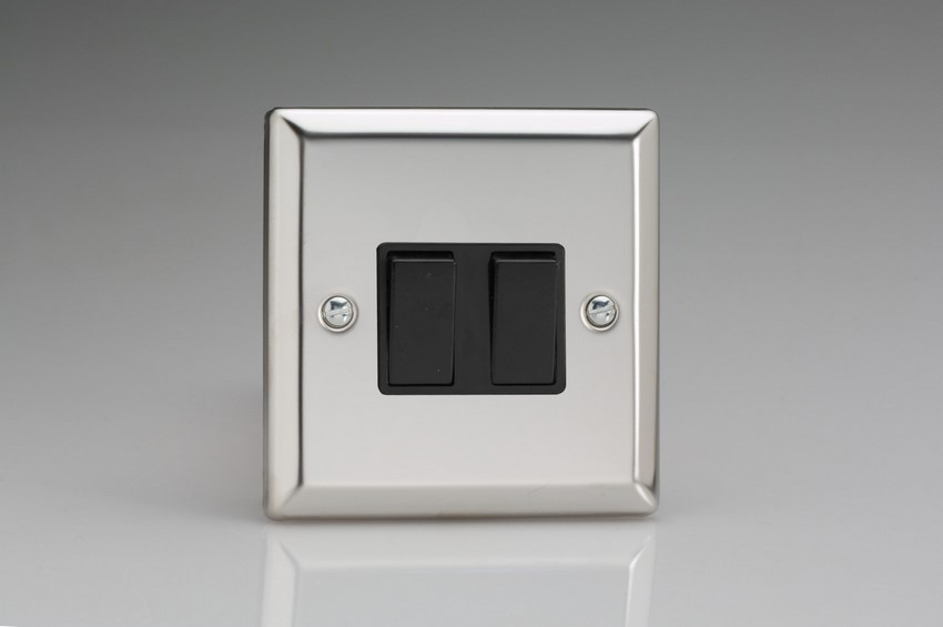 XC77B Varilight 2 Gang (Double), (3 Way) Intermediate 10 Amp Switch, Classic Polished Chrome (also known as Classic Mirror Chrome)