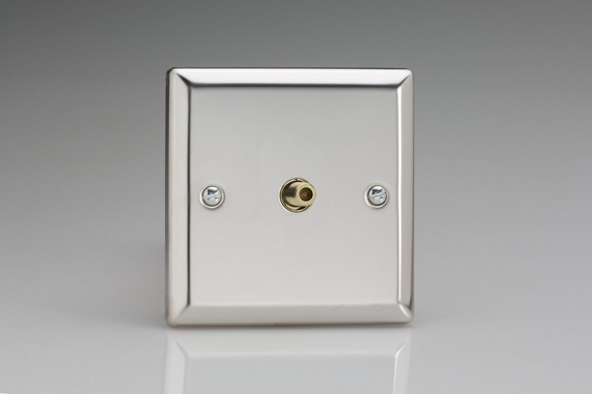 XC8S Varilight 1 Gang (Single), Satellite TV Socket, Classic Polished Chrome (also known as Classic Mirror Chrome)