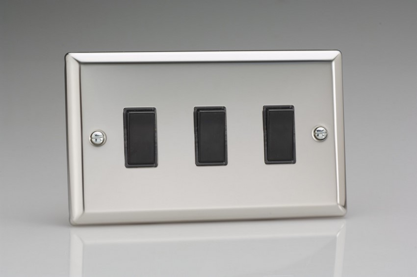 XC93B Varilight 3 Gang (Triple), 1or 2 Way 10 Amp Switch, Classic Polished Chrome (also known as Classic Mirror Chrome) (Double Plate)