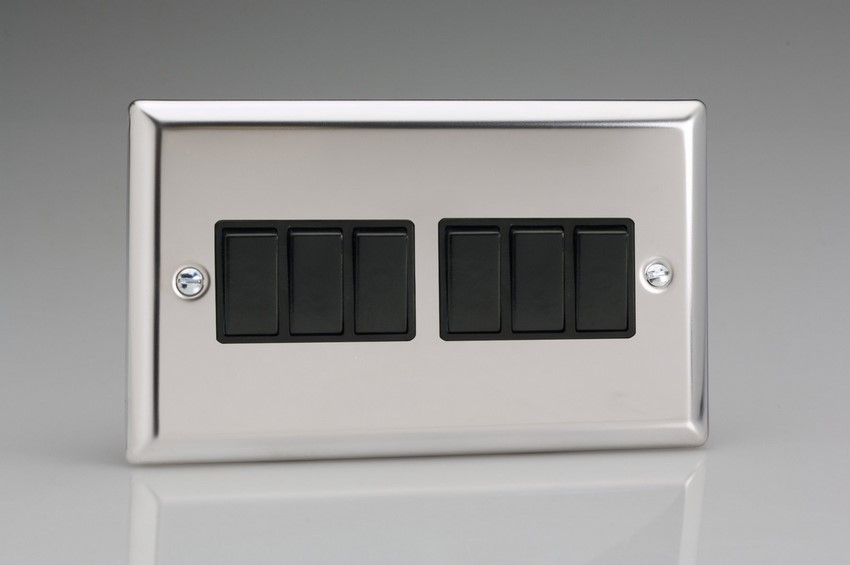 XC96B Varilight 6 Gang 1or 2 Way 10 Amp Switch, Classic Polished Chrome (also known as Classic Mirror Chrome) (Double Plate)