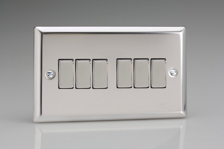 XC96D Varilight 6 Gang 1or 2 Way 10 Amp Switch, Classic Polished Chrome (also known as Classic Mirror Chrome) (Double Plate)