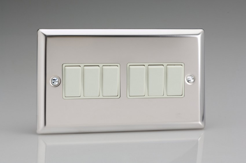 XC96W Varilight 6 Gang 1or 2 Way 10 Amp Switch, Classic Polished Chrome (also known as Classic Mirror Chrome) (Double Plate)