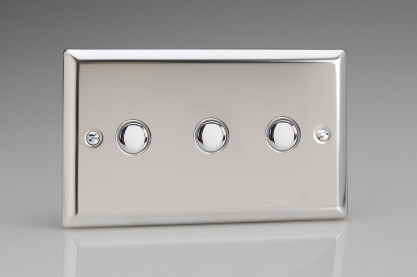 XCP3 Varilight 3 Gang (Triple) 1 or 2 way 6 Amp Push-on Push-off Switch (impulse), Classic Polished Chrome (also known as Classic Mirror Chrome)