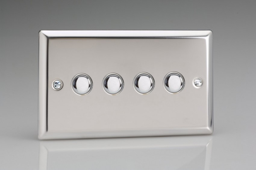 XCP4 Varilight 4 Gang (Quad) 1 or 2 way 6 Amp Push-on Push-off Switch (impulse), Classic Polished Chrome (also known as Classic Mirror Chrome)