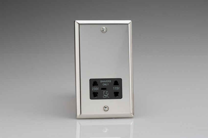 XCSSB Varilight Dual Voltage Shaver Socket, Classic Polished Chrome (also known as Classic Mirror Chrome)