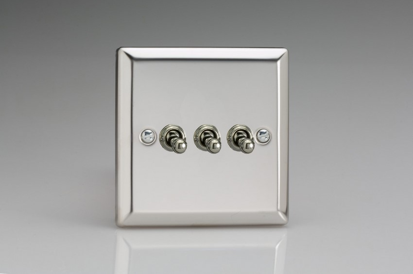 XCT3 Varilight 3 Gang (Triple), 1 or 2 Way 10 Amp Classic Toggle Switch, Classic Polished Chrome (also known as Classic Mirror Chrome)