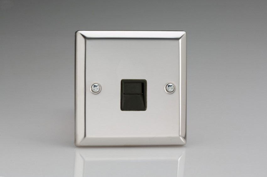 XCTMB Varilight 1 Gang (Single), Telephone Master Socket, Classic Polished Chrome (also known as Classic Mirror Chrome)