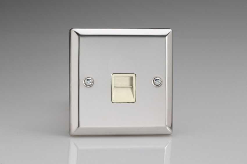 XCTMW Varilight 1 Gang (Single), Telephone Master Socket, Classic Polished Chrome (also known as Classic Mirror Chrome)