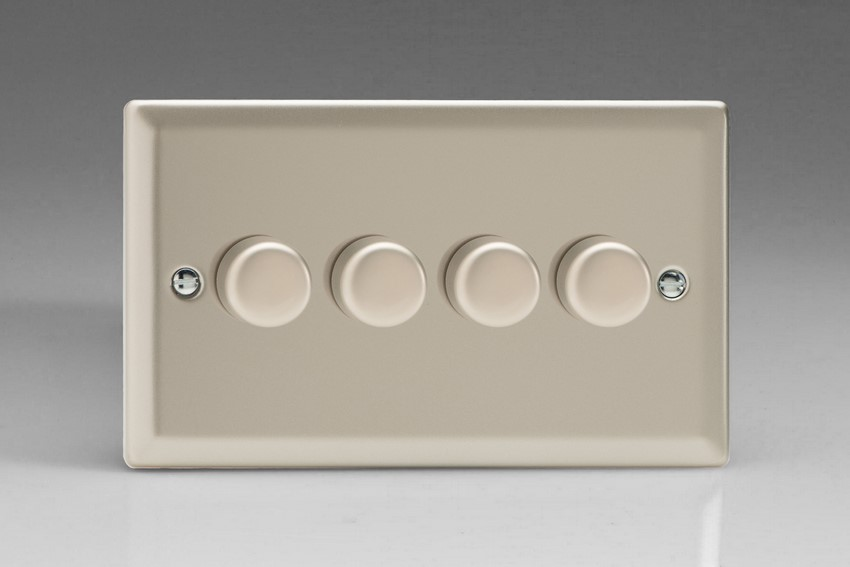 KNDP184 Varilight V-Com Series 4 Gang, 1 or 2 Way 25-180 Watt Commercial LED Dimmer, Classic Satin Chrome