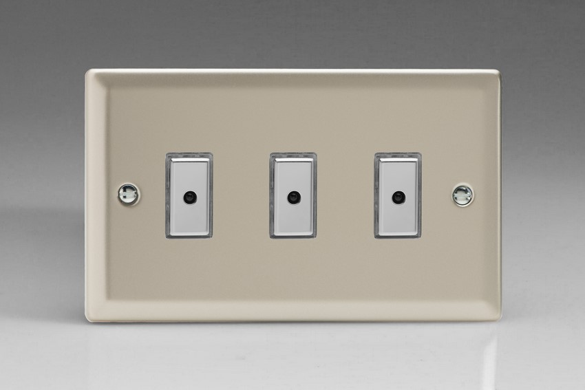 JNE103 - Varilight V-Pro Series Eclique2, 3 gang Intelligent Programmable Master Dimmer, with Tactile Touch Button and Integrated Remote Control Sensor 0-100 Watts of LEDs (10 LEDs Max), Classic Satin Chrome