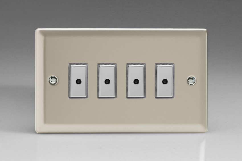 JNE104 - Varilight V-Pro Series Eclique2, 4 gang Intelligent Programmable Master Dimmer, with Tactile Touch Button and Integrated Remote Control Sensor 0-100 Watts of LEDs (10 LEDs Max), Classic Satin Chrome