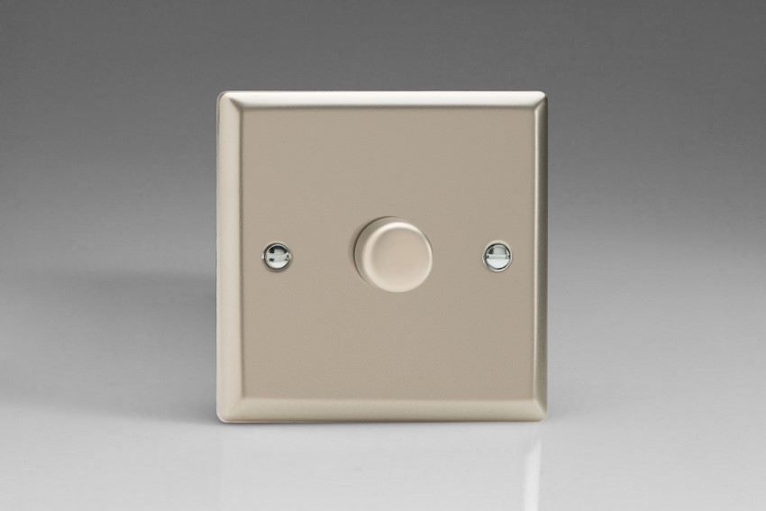 Varilight JNP601, V-Pro Series 1-Gang 1 or 2-Way Push-On/Off Rotary LED Dimmer 10-300W (Max 30 LEDs), Classic Satin Chrome