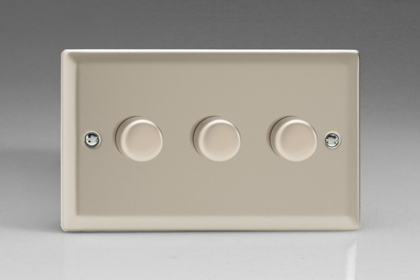 Varilight V-Com Series 3 Gang 15-180 Watt Leading Edge LED Dimmer