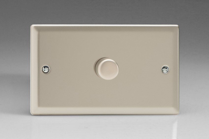 TNDR1001 Varilight V-Dim Series 1 Gang on a Double Plate, 1 Way 1000 Watt Rotary Dimmer, Classic Satin Chrome